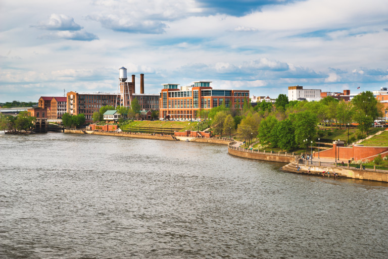 Columbus, Georgia, riverfront and downtown on Chattahoochee