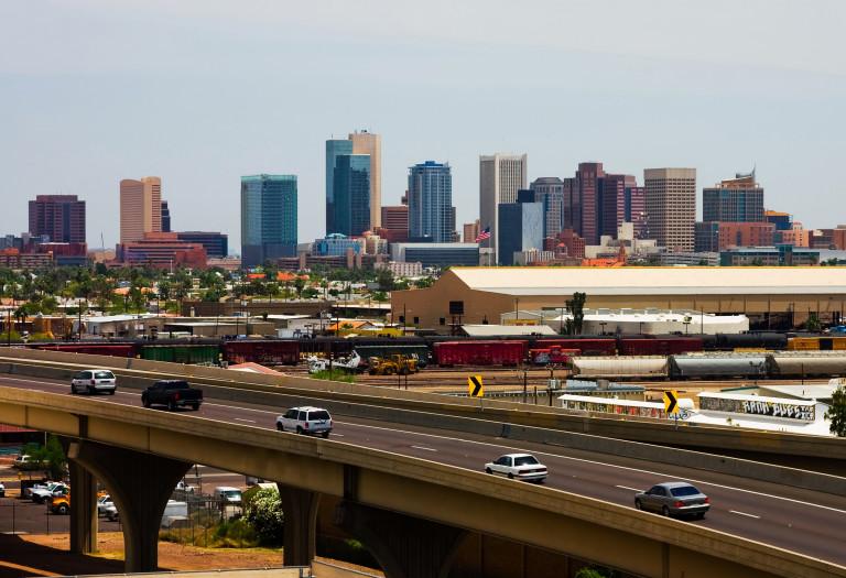 Skyscrapers and freeways in downtown Phoenix, Arizona