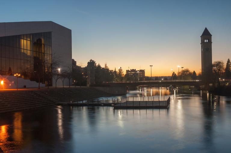Spokane's Riverfront Park At Twilight