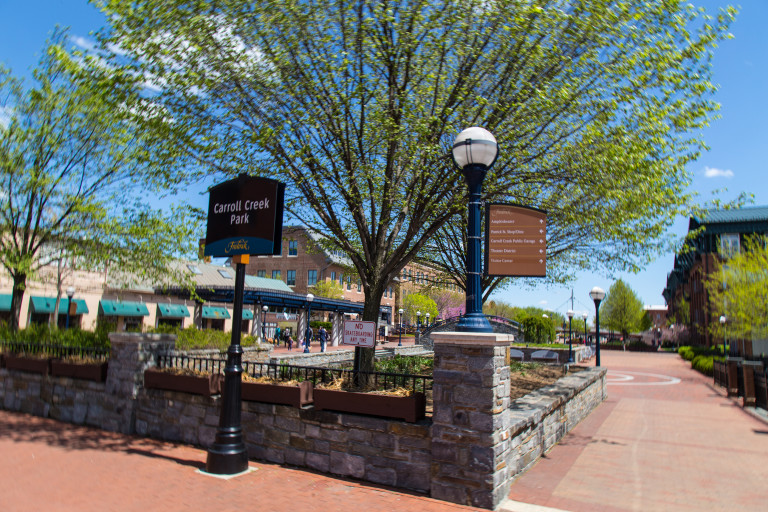 FREDERICK MD - April 26 2015: The Carroll Creek Park in downtown Frederick Maryland.